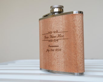 5 Engraved Sapele Hip Flasks. Uniquely Perfect Groomsmen Gift. Stainless Steel 6oz Flask with Sapele Veneer.