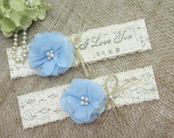 Something Blue I Love You , Country Chic Wedding Garter Set, Keepsake & Toss Garter Set