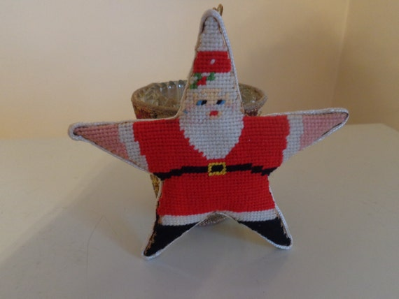 Vintage embroidered santa claus star ornament