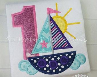 Sailboat nautical first Birthday Embroidered shirt