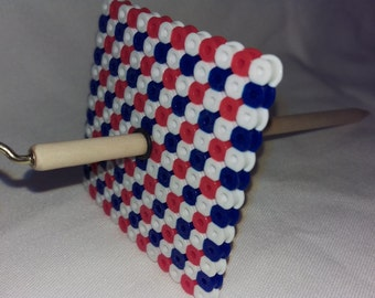 Patriotic Checkerboard - Square Bead Spindle - 13 grams