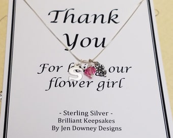 Personalized Thank You Gift Necklace for Flower Girl Wedding Jewelry