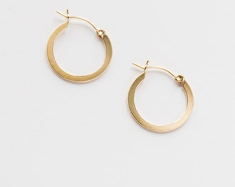 Gold Filled Flat Hoops