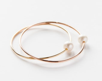 Gold Filled White Pearl Bangle