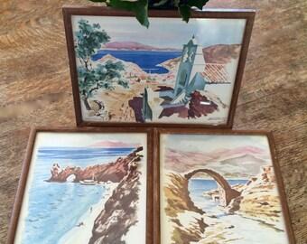 Set Mid-Century Watercolors Greek Islands Framed Prints Greece Anthos Hydra Skiathos 1960s Signed Art Vintage Wall Art Three 3 Watercolors
