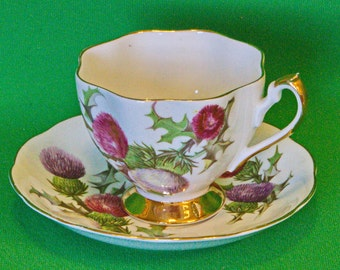 DMu2106 - Vintage (1950-1966) Queen Anne (England) Dundee Thistle Cup & Saucer Set