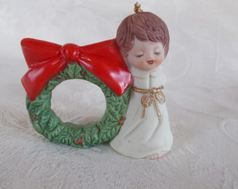 Vintage L'iL Chimers  Bisque Porcelain Christmas Angel Napkin Ring