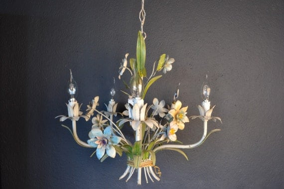 Tole flower chandelier