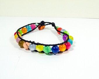Multicolor Rainbow Summer Bracelet Connected wit Black Thread - Funky Summer Colors Bracelet