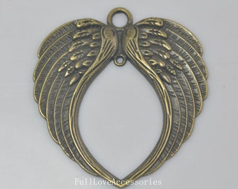 2pcs Angel Wings Charms, 68x73mm Large Antique Brass Angel Wings Charms Pendant