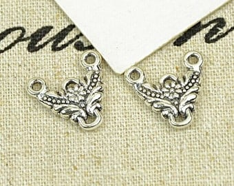 20pcs 14x15mm Antique Silver Triangle Flower Charms Connector Link Charm Pendant