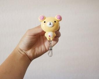 Cream Teddy Bear Nurse ID Badge Holder