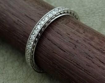 Thin Platinum Diamond Wedding Band Hand Engraved Allround