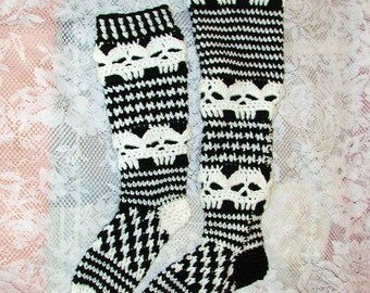 PDF Crochet Pattern  Creepy Skull Slipper Stockings Knee High and over the knee Versions
