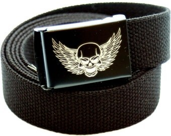 Custom Made Skull with Wing Canvas Web Belt and Buckle