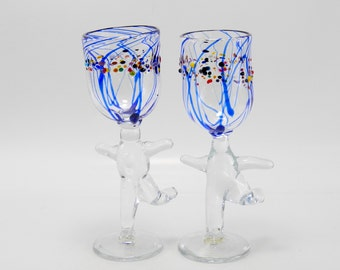 Wine Goblets Hand Blown Art Glass Blue Striped Glass Goblets made by James Moody