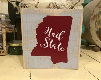 Distressed MS wood block sign