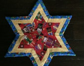 6 pointed Star Candle Mat - Nutcracker Stripe