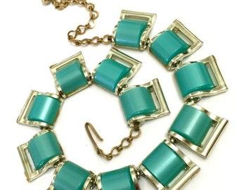 Aqua Thermoplastic Necklace, Mid-Century  Necklace Collar, Gold Tone Metal,