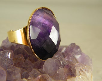 Amethyst ring, Gold ring, Purple stone ring, Big statesman ring, Adjustable ring, February birthstone ring, Gift for her, Amethyst jewelry