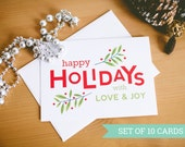 Happy Holidays Greeting Card Set - Christmas Cards - Holiday Berries - Package of 10 Red & Green Holiday Cards with envelopes