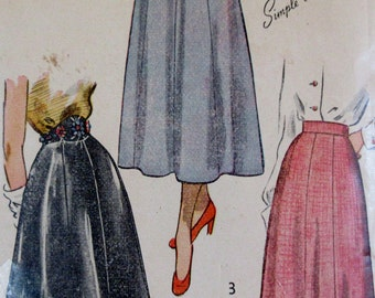 Vintage 1950s  Simplicity Easy to Make Pattern 2779  Misses Daytime to Evening Skirt Pattern, Waist Size 30 **Epsteam