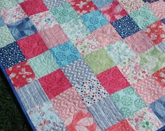 Handmade quilt Aria by Kate Spain - lap Baby Quilt, Crib Nursery Pinks,Aqua,Blue, Butterflies, Patchwork Blanket throw