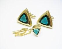 Vintage Cufflinks with matching Tie Tack * 12k gold filled Anson Cuff Links * inlaid genuine Jade Stone Modernist Design Formal Wear