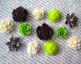 Pretty Magnets, 12 pc Flower Magnets, Plum, Ivory and Lime Green Kitchen Decor, Housewarming Gifts, Wedding Favors, Locker Magnets
