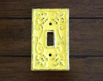 Light Switch Cover / Cast Iron Switchplate / Fleur de lis / Summer Squash or Pick Color / Single Light Switch Plate /