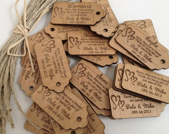 50 x Engraved Wooden Wedding Gift Tags with Raffia Tie