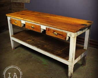 Vintage Industrial Butcher's Workbench Desk 6' Table Kitchen Island