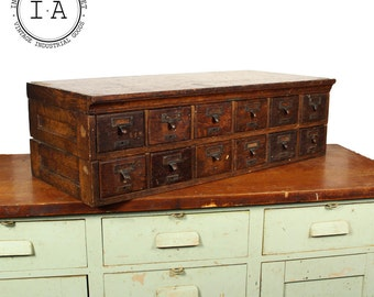 Vintage Industrial 12 Drawer Wooden Card Catalog Cabinet
