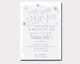 Twinkle Twinkle Little Star Birthday Invitation | Star Birthday Invitation | First Birthday | Boy Birthday | Baby Shower Invitation