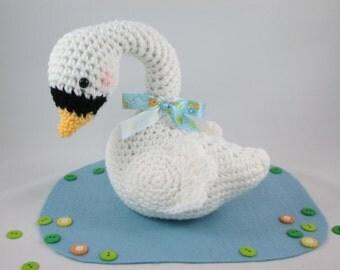 Crochet Stuffed Swan, Newborn Photo Prop, Nursery Decor Swan, Amigurumi Swan, Diaper Cake Topper by CROriginals
