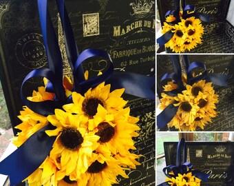 Sunflower Kissing Ball, Sunflower Wedding, Sunflower Pomander, Sunflower Ball, Sunflower Bouquet, Sunflower Bridal, Sunflower Rustic Wedding