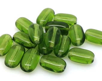 25 Vintage Olive Green Czech Oval Glass Beads 10mm