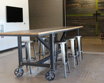 Industrial Reclaimed Wood Community Table