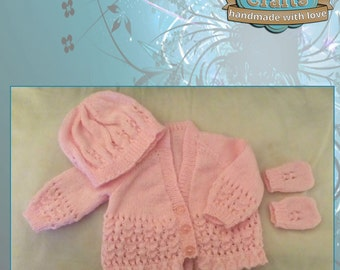 Babies V Neck Hand knitted 4 ply Set
