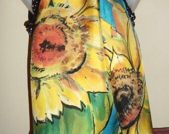 Sunflowers with blue sky - 170x45 cm
