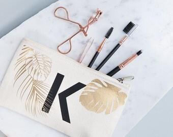 Personalised Tropical Makeup Bag - Tropical Leaf Print - Monogrammed Makeup Pouch - Cosmetic Bag - Travel Accessories - Monogram Makeup Bag