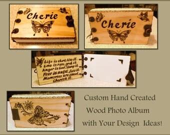 Wood  photo album, wood journal, Wood Anniversary gift, Memory Book, Wood book, Wood burned Book, Wedding Guest Book, journals