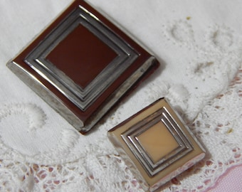 Brown and Beige Square Vintage Glass Buttons with Lines of Silver Luster