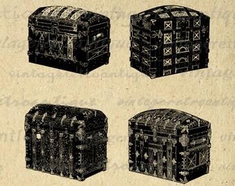 Four Antique Trunks Printable Graphic Image Collage Sheet Digital Download Vintage Clip Art Jpg Png Eps 18x18 HQ 300dpi No.2860