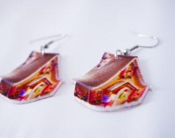 2x Gingerbread house earrings