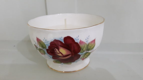 Hand poured scented eco friendly vegan soy wax vintage sugar bowl candle, scented with raspberry