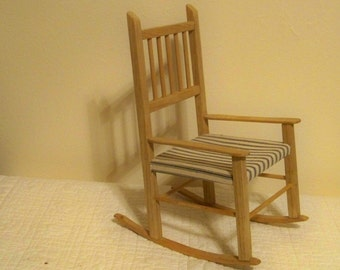 small unstained wood rocking chair doll rocking chair