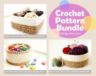 37.5% OFF Crochet Pattern Bundle - 3 Sets of 3 Stacking Baskets - Crochet PDF Instant Download Instructions File by JaKiGu