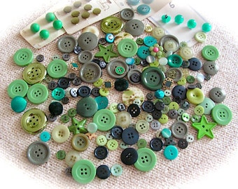 Collection of  Green  Buttons- 185 pieces.