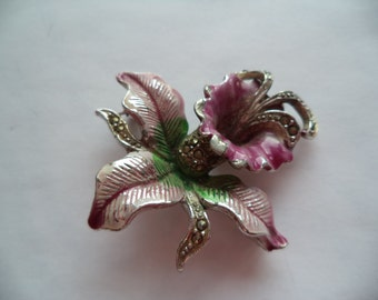 Vintage Unsigned Silvertone Marcasite Orchid Brooch/Pin
